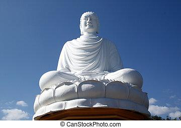 White Biddha - White sitting on the lotus Buddha in Nha...