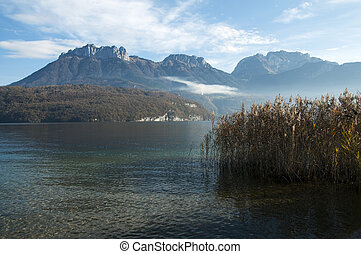Montains and lake annecy - Mountains of Tournette, Forclaz...