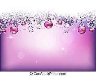 Christmas background with baubles, stars and garlands