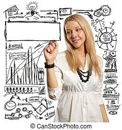 businesswoman writing something - female writing something...