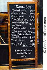 Slate covers - Board to record the range of Spanish tapas