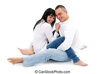 Having fun together - Lovely young couple having fun...