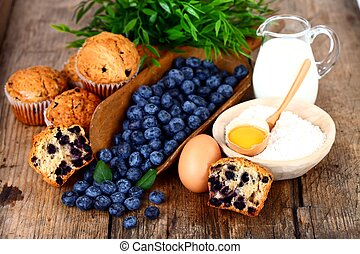 Blueberry muffin with ingredients - Muffins with blueberry,...