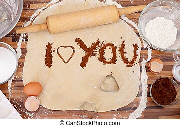 I love you - Love message written with cocoa powder on the...
