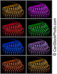Collage of glowing LED garland on black background
