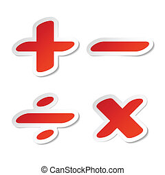 Math symbols stickers vector illustration