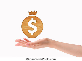Dollar mark above hands isolated on white background