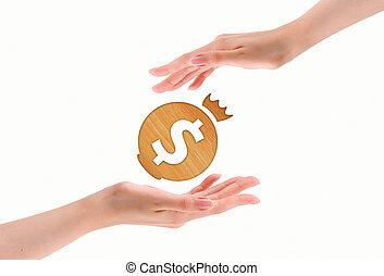 dólar, marca, sobre, Manos, aislado, blanco, Plano de...
