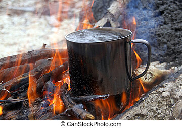 Boiling water - Wood and boiling water in big campfire