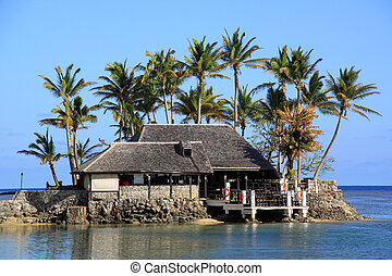 Fiji - Building and palm trees on the coast in Fiji