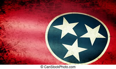 Tennessee State Flag Waving, grunge look