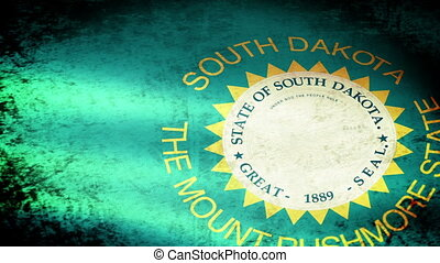 South Dakota State Flag Waving, grunge look