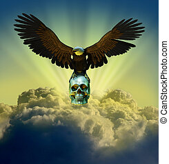 Bald Eagle with Skull - 3D render of a bald eagle perched on...