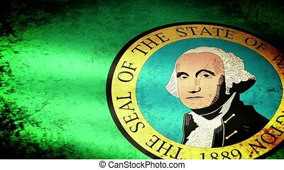 Washington State Flag Waving, grunge look