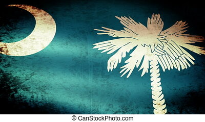 South Carolina State Flag Waving, grunge look
