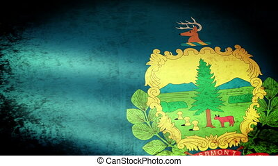 Vermont State Flag Waving, grunge look
