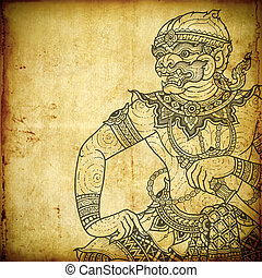 Traditional Thai art in Ramayana literature. the old paper