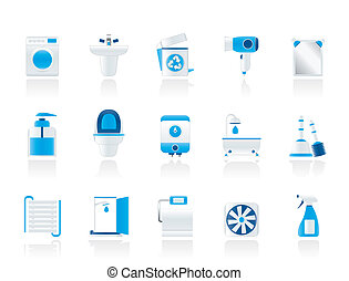 Bathroom and toilet objects and icons - vector icon set