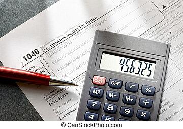 calculadora, imposto, caneta, vermelho, forma