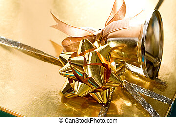Decorated gift box with a handbell