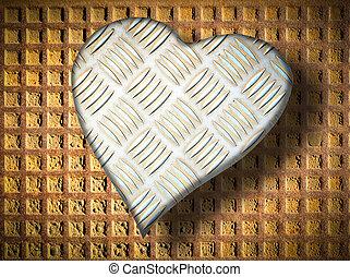 Metal rusty heart on a black background - Metal rusty heart...