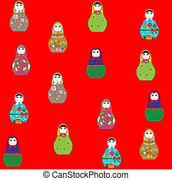 Seamless retro russian doll illustr