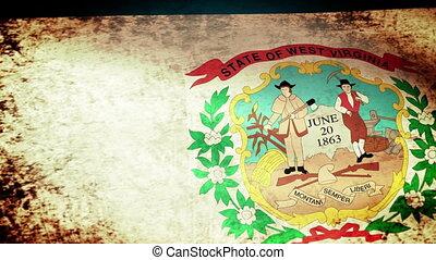 West Virginia State Flag Waving, grunge look