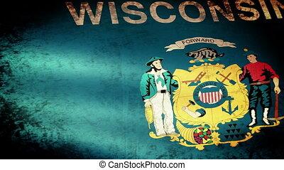 Wisconsin Sate Flag Waving, grunge look