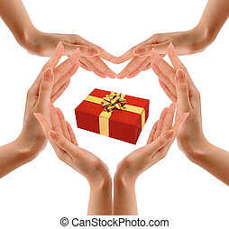 hand and gift over white background