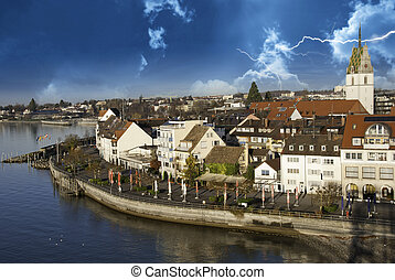 Storm approaching Friedrichshafen in Germany - Storm...