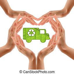 reciclaje, símbolo, mano