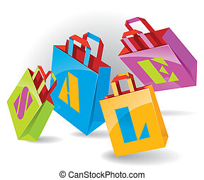 "Paper Bags for shopping with ""SALE"" inscription. Vector..."