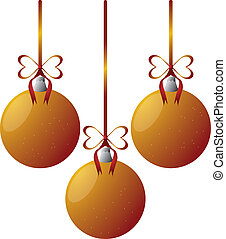 gold christmas balls with red harts