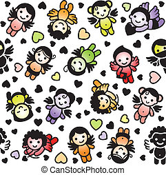 Cupids set, wrapping paper - Cupids set, color icons,...