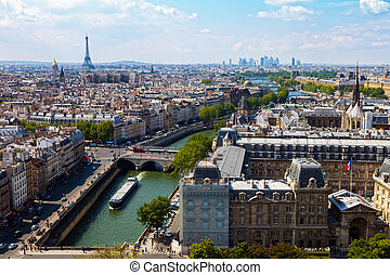 Top view river Seine - Top view from Cathedral Notre Dame on...