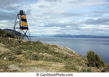 Light house and Beagle channel near Ushuaia, Argentina