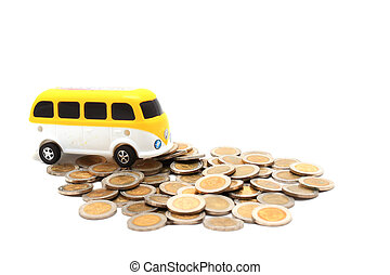 van over a lot of golden coins (isolated on white)