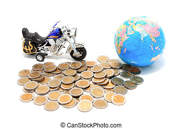 Globe and car on the pile of coins - isolated - Globe and...