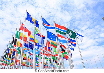 The world national flags - The national flags is flying...