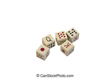 Poker Dice - Set of Poker Dice Isolated on White
