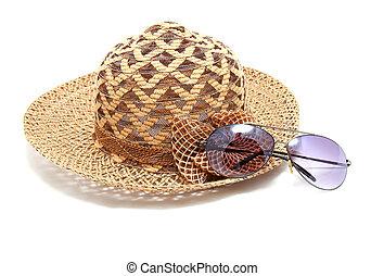 Woven hat with sunglasses   - Woven hat with sunglasses