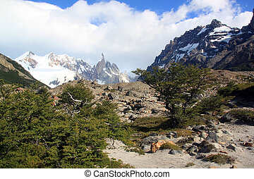 El Chalten - Footpath to the mountain area in El Chalten,...