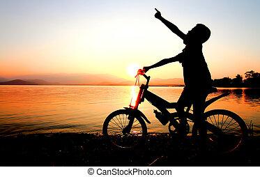 niño, BMX, silueta, Plano de fondo