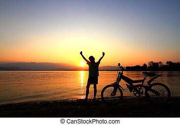 Boy on BMX silhouette background - Boy on BMX silhouette...
