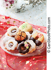 Christmas cookies - Variety of Christmas cookies on a...