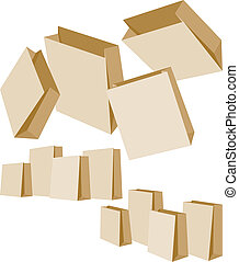 Set of Paper Bags - Set of three groups of Paper Bags on...