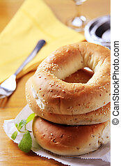 Bagels - Stack of three fresh sesame seed bagels