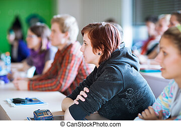 young, pretty female college student sitting in a classroom full of students during class (shallow DOF; color toned image)