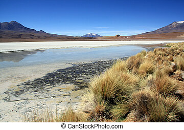 Salt lake and mount near Uyuni in Bolivia