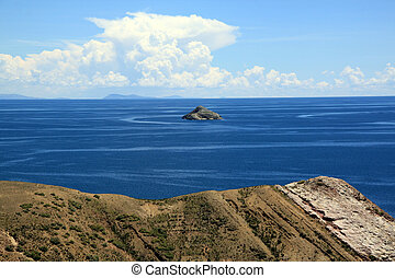 Island and lake Titicaca - Small island near Isla del Sol on...